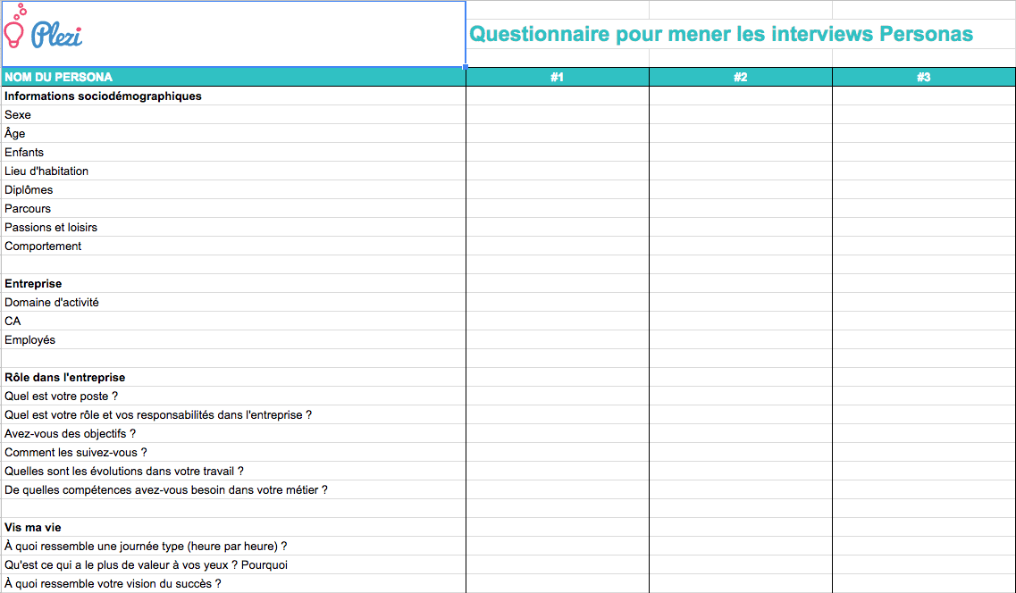 Exemple de questionnaire pour réaliser ses personas marketing B2B