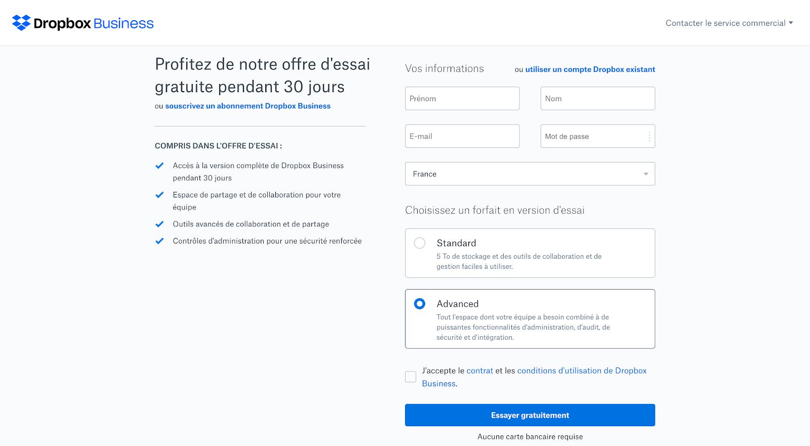 exemple de la landing page Dropbox qui présente ses bénéfices
