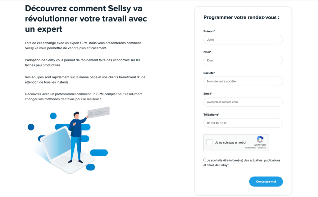 sellsy landing page formulaire