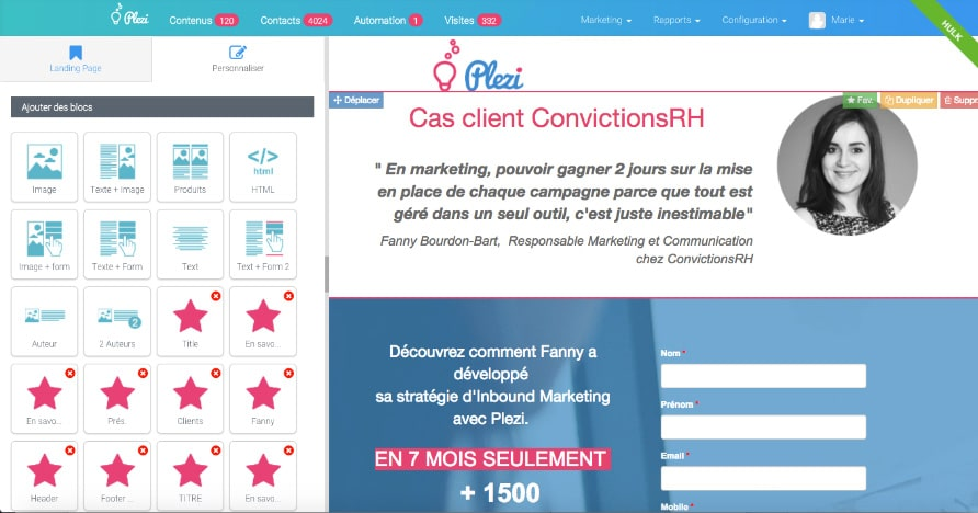 Création landing pages