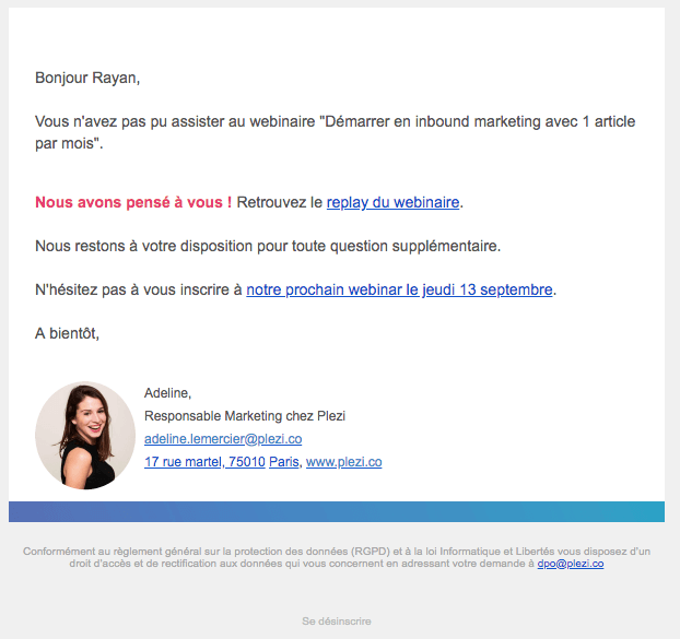 exemple d'emailing personnalisé B2B