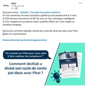 Post LinkedIn sur l'étude de cas Idexlab, et comment elle a divisé son cycle de vente par 2