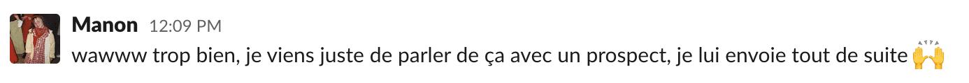 Réaction slack de manon, inside sales chez Plezi, concernant un article qu'elle va envoyer à un prospect