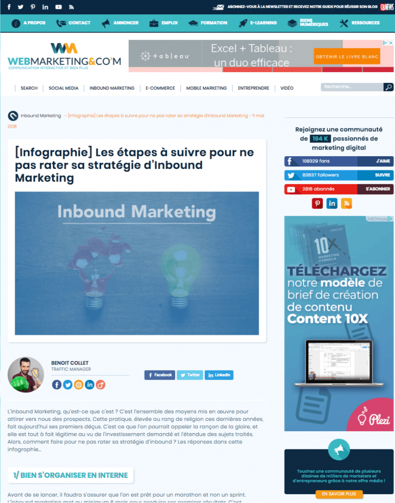Exemple de bannière de retargeting sur le site Webmarketing-Com