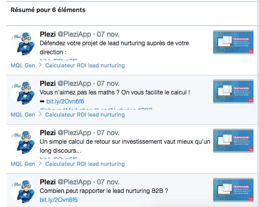 Exemples de messages différents pour publications sponsorisées en retargeting B2B chez Plezi (plateforme Twitter Ads)