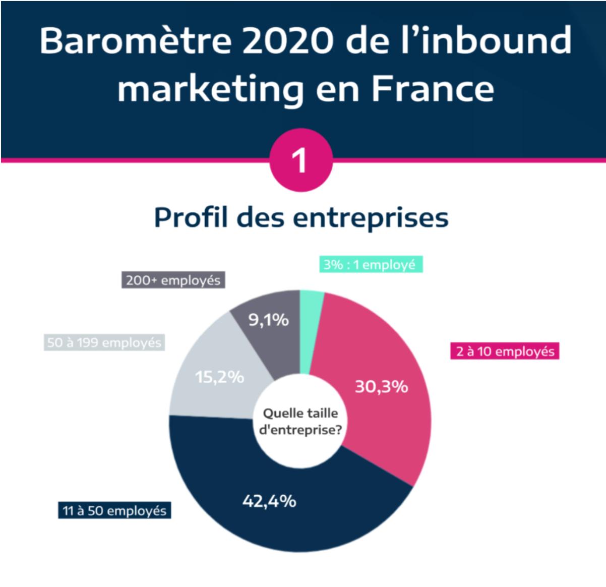 infographie Plezi présentant les statistiques de l'inbound marketing en France en 2020