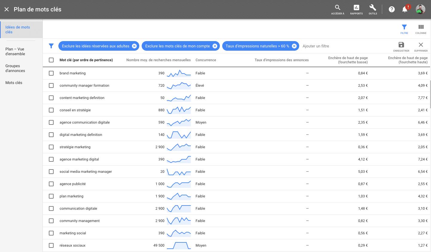 Google Ads permet de vérifier le trafic par mot clé pour la création de contenus