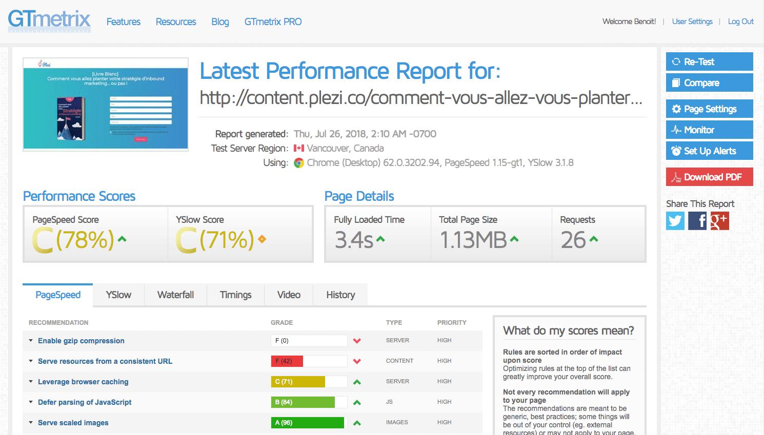 GT Metrix : outil d'analyse de temps de chargement d'une page web