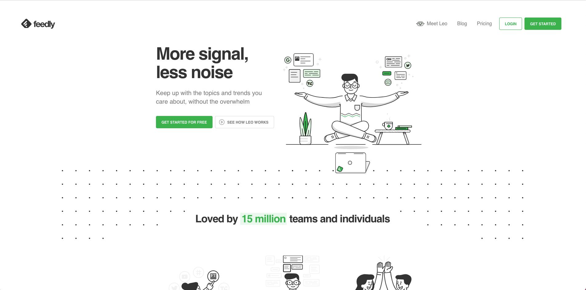 page d'accueil du site de Feedly, outil de curation