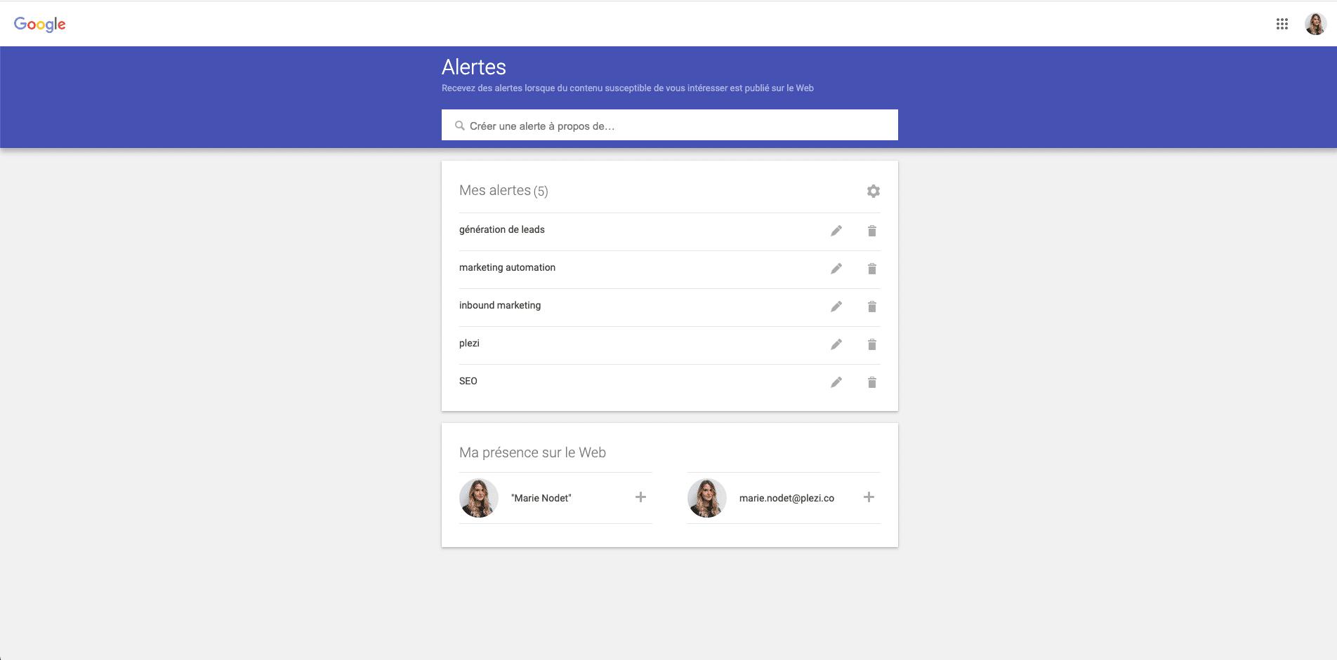 Capture d'écran des mots-clés pour la veille dans Google Alertes