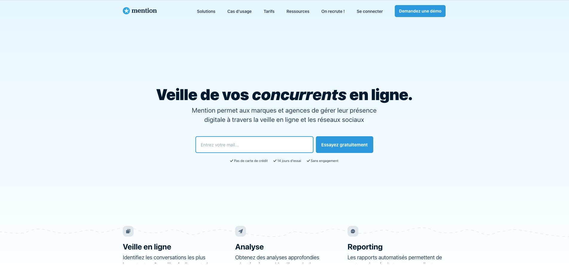 Capture d'écran de la page d'accueil de l'outil de veille Mention