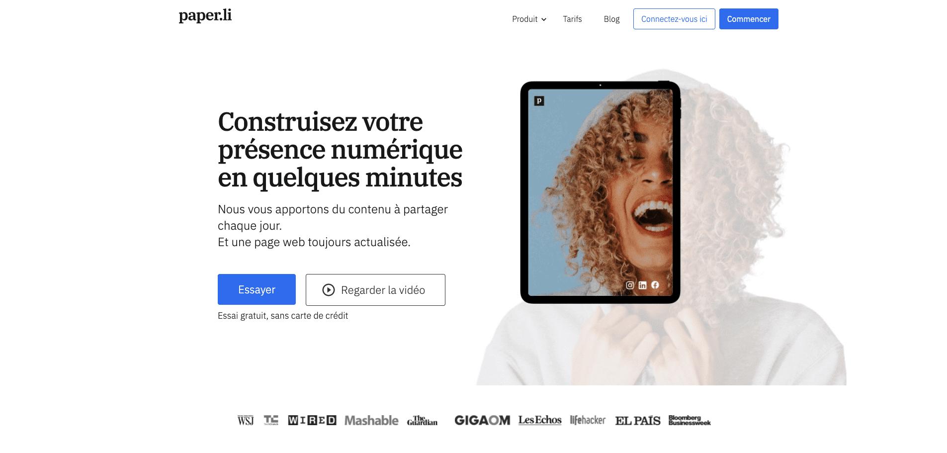 page d'accueil du site web de l'outil de curation Paper.li