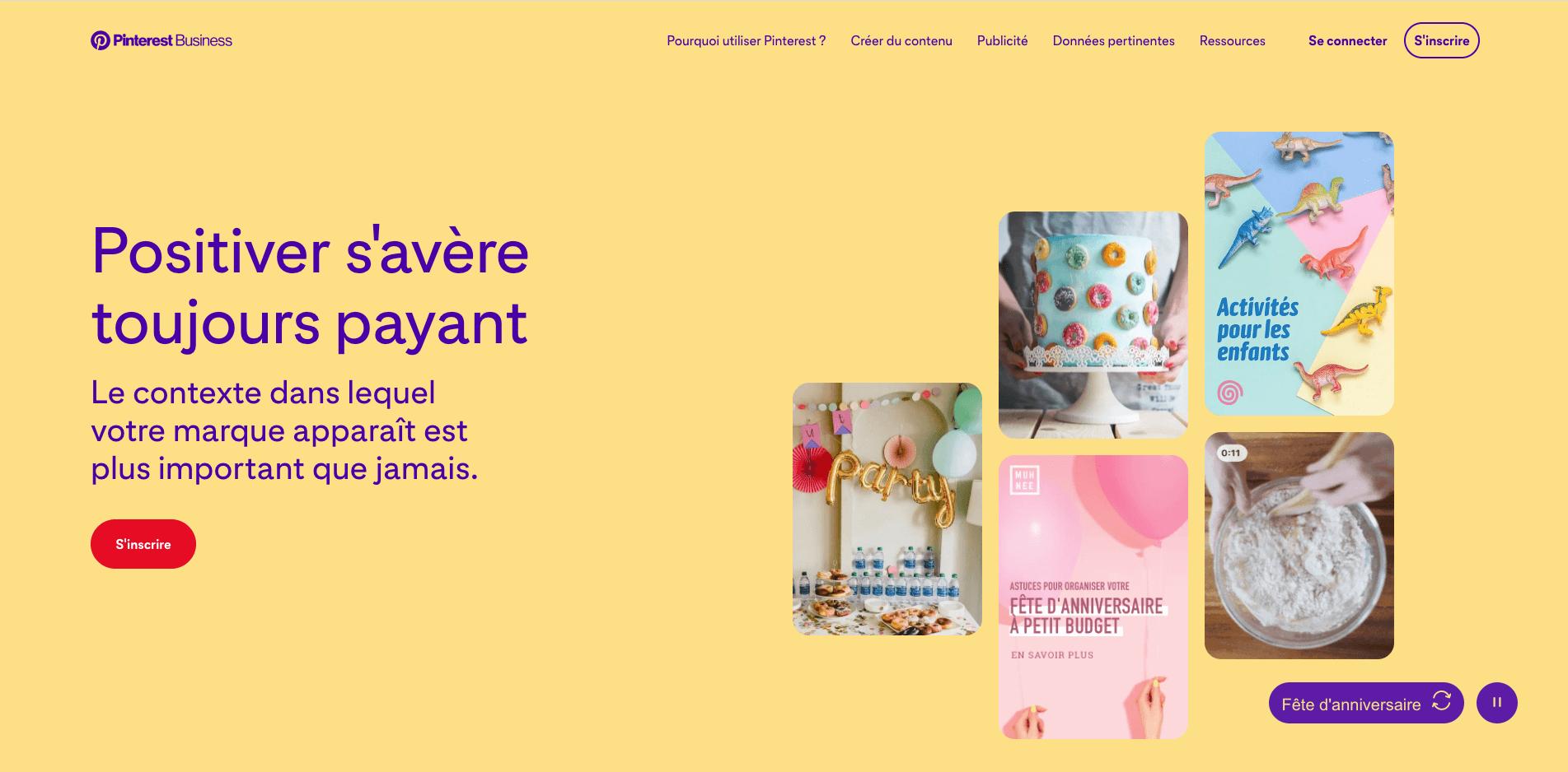 page d'accueil du site de l'outil de curation Pinterest
