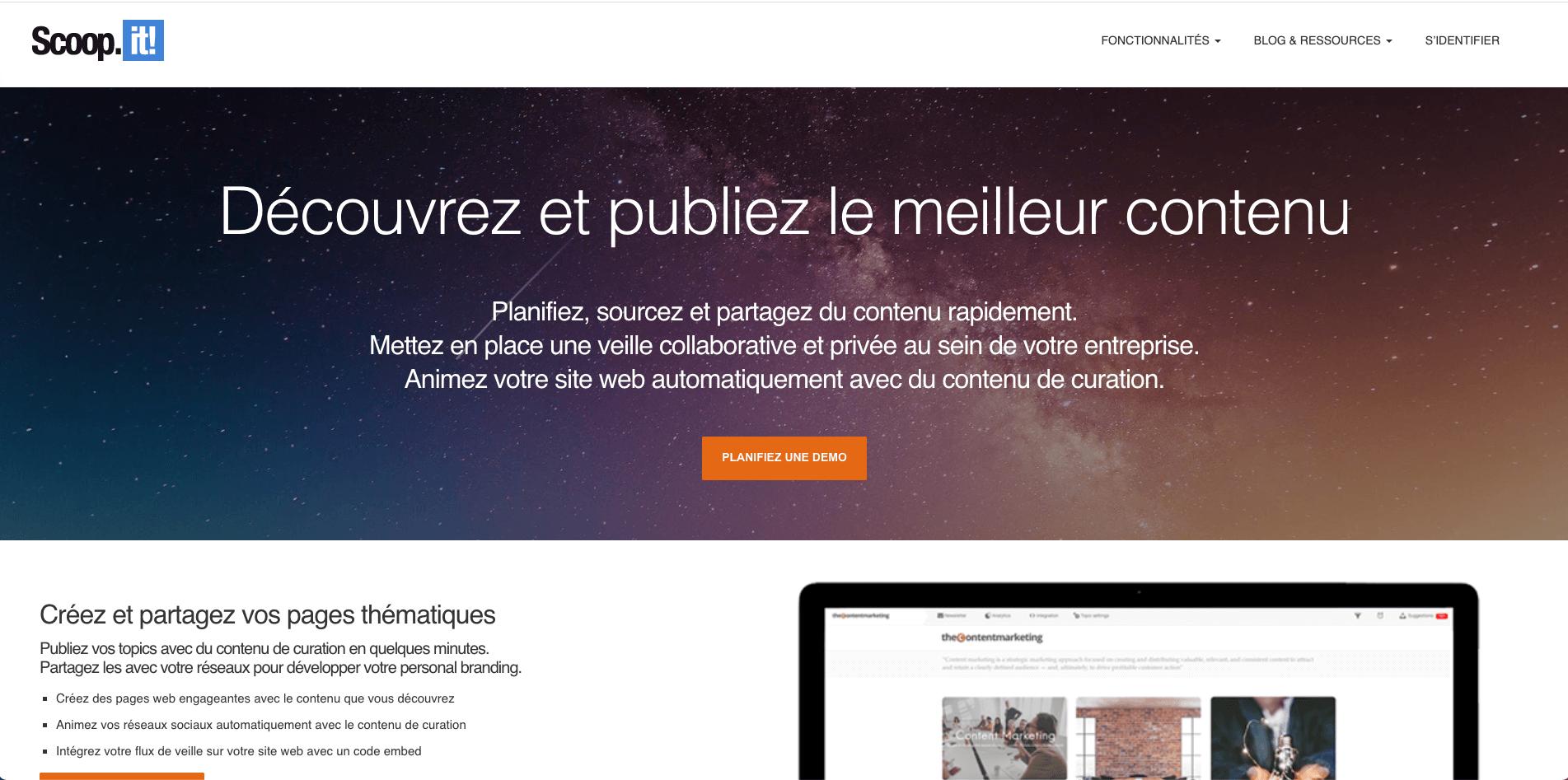 page d'accueil du site de l'outil de curation Scoop it