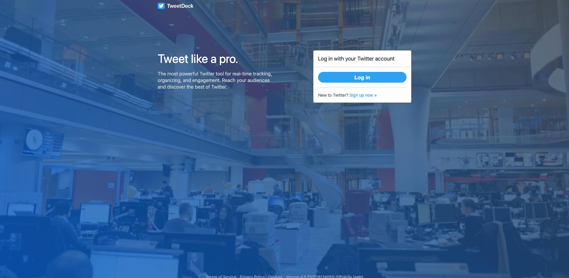 page d'accueil de Tweetdeck, outil de curation
