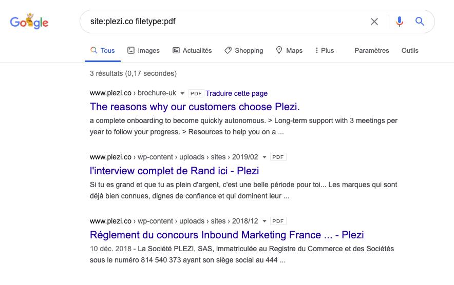 Requête dans Google pour vérifier qu'il n'y a pas de lead magnet de référencé dans les moteurs de recherche et qu'ils sont bien sécurisés