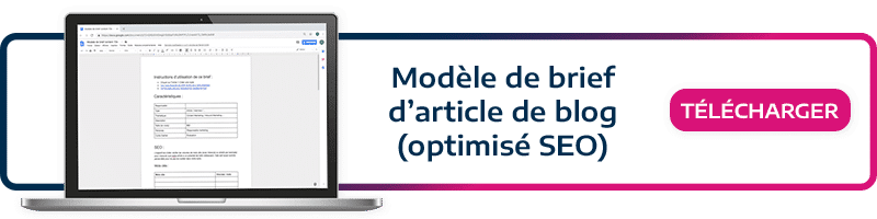 modèle de brief d'article de blog optimisé pour le SEO