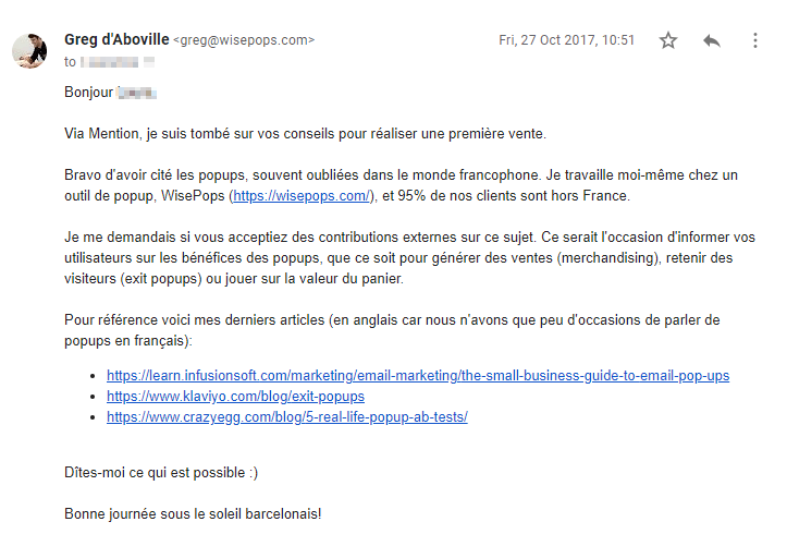 Exemple d'email d'outreach pour guest blogging par WisePops