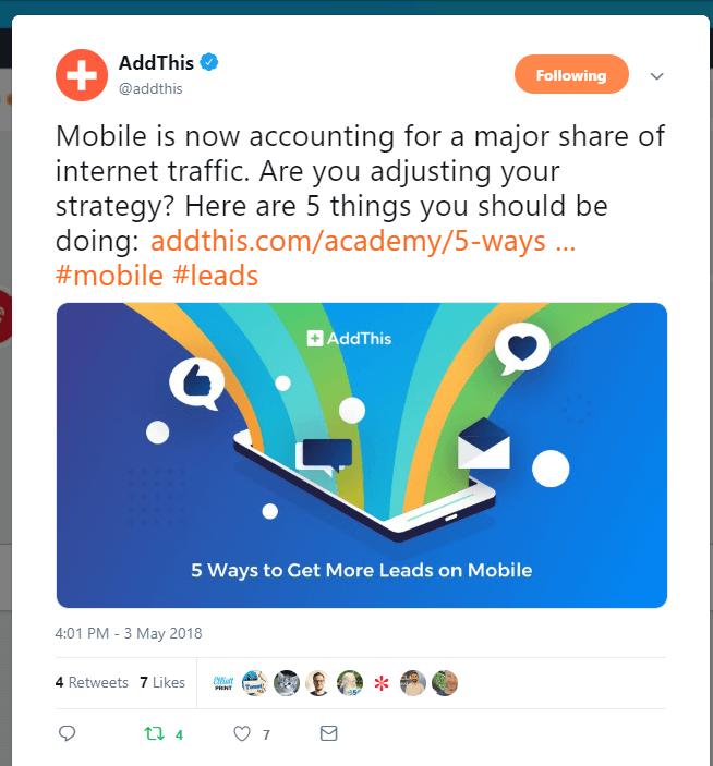 Promotion sur les réseaux sociaux d'AddThis