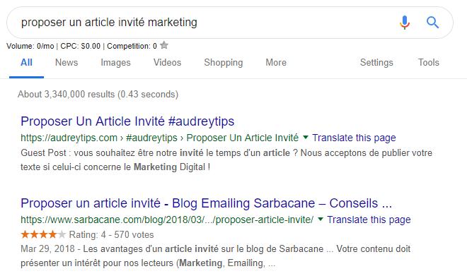 Screenshot tutorial de requête Google pour trouver des articles de blog