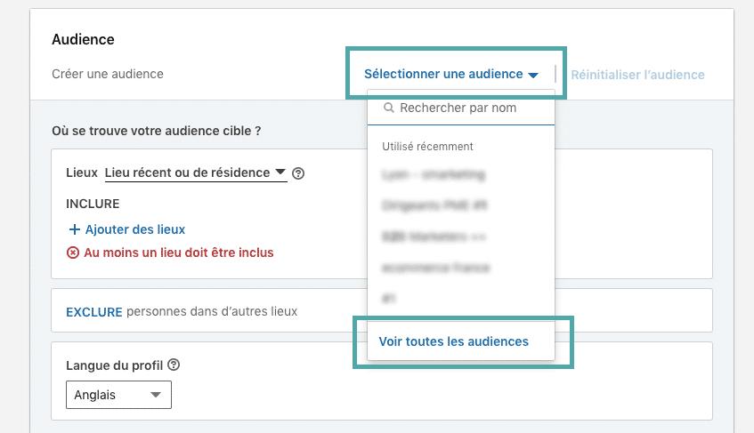 étape 1 pour trouver les modèles d'audience dans le business manager LinkedIn