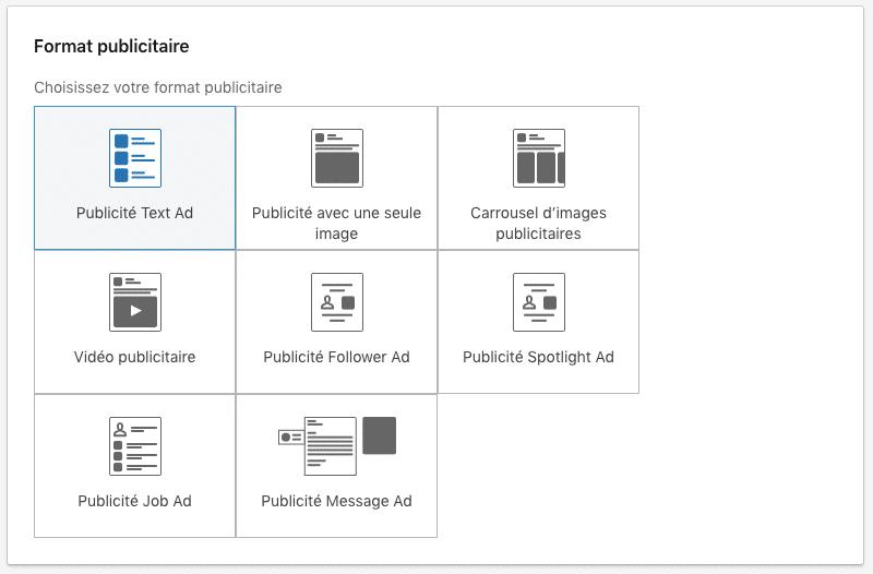 Copie d'écran des choix de formats publicitaires sur LinkedIn