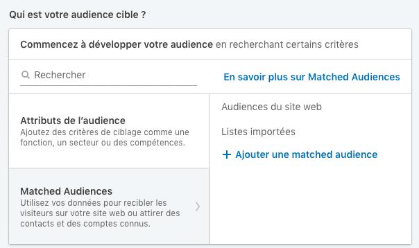 Création d'une audience de retargeting sur LinkedIn ou chargement d'une liste de prospects