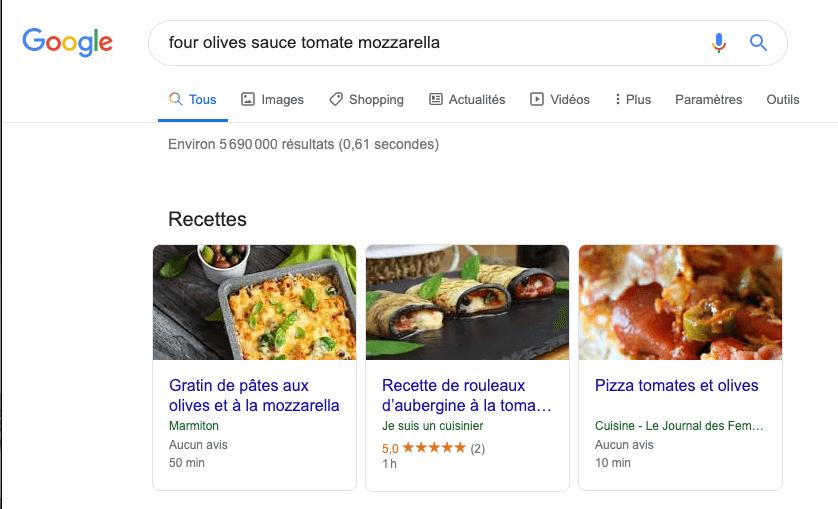 exemple de liens sémantiques sur une recherche google