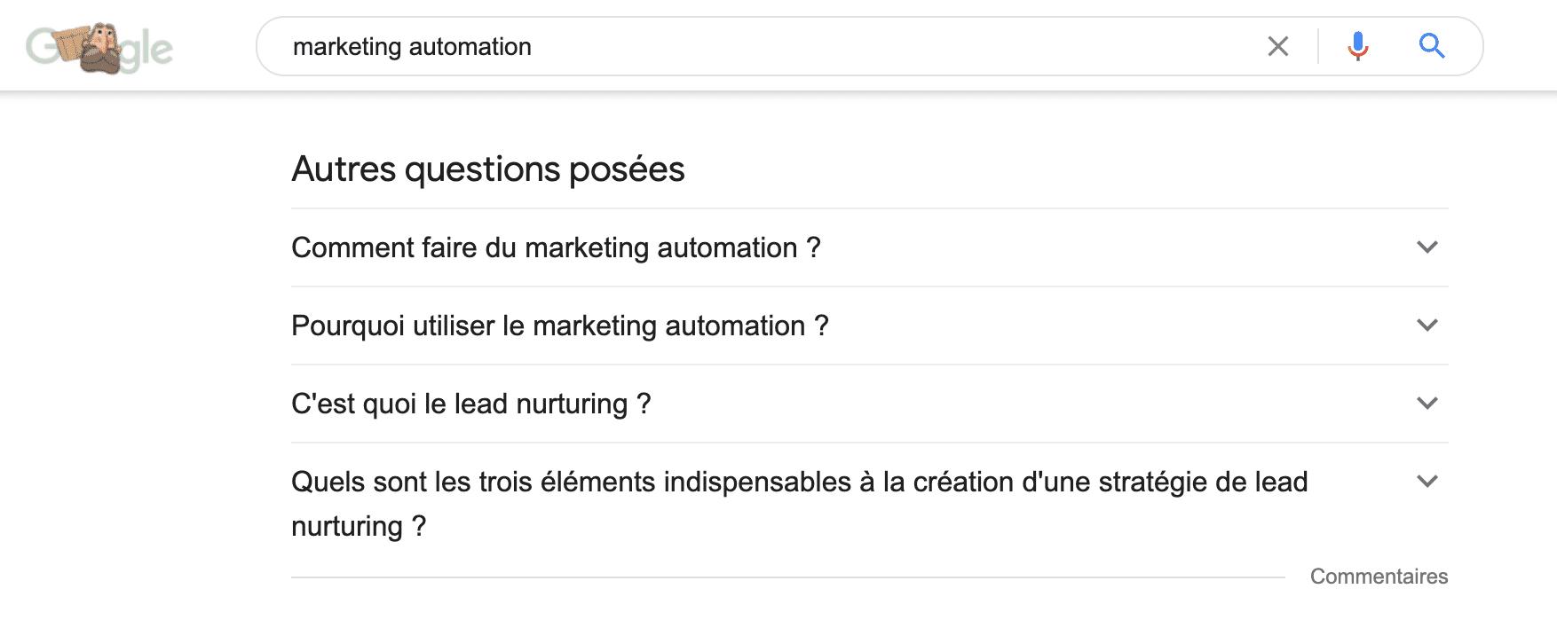 """exemple de la section """"autres questions posées"""" sur la page de résultats de la requête """"marketing automation"""" sur Google"""