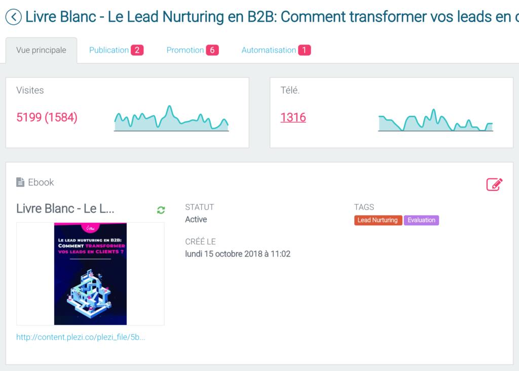 image d'un contenu en phase d'évaluation dans le logiciel d'inbound marketing Plezi