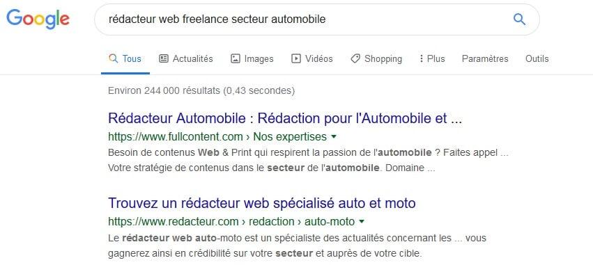 exemple d'une requête google avec un mot clé de longue traine