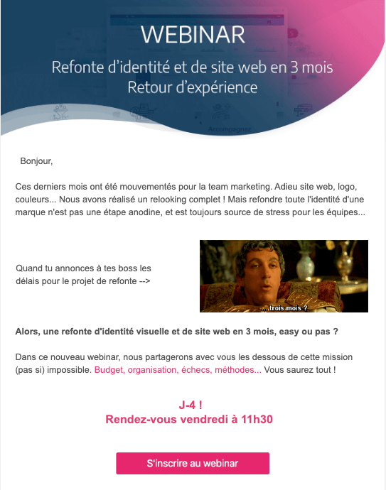 exemple d'un call to action efficace dans un email b2b