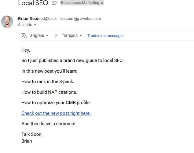 exemple d'un email bBb avec un call to action efficace envoyé par backlinko