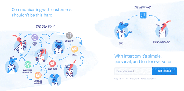 capture d'écran du site web de Intercom, outil de chat b2b