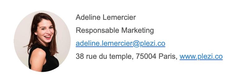 exemple de signature email contenant l'adresse physique de l'expéditeur