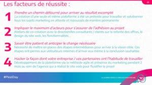 liste des 4 facteurs de réussite d'un projets donnés par Fanny Bourdon-Bart
