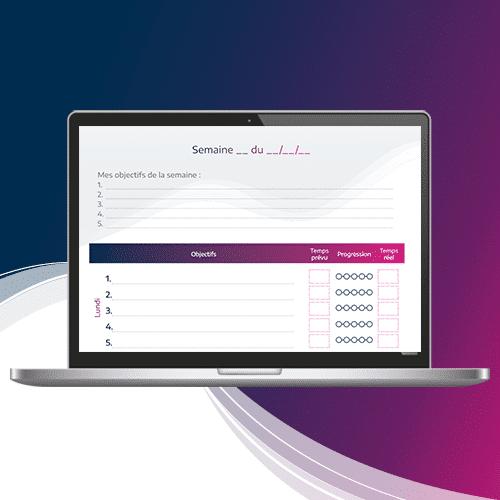 visuel d'écran présentant le cachier de productivité pour marketeur B2B