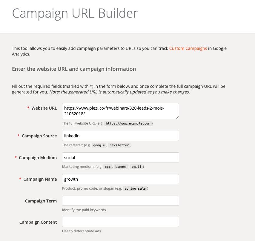 """Aperçu du """"Campaign URL Builder"""" proposé par Google pour ajouter des paramètres utm aux URL"""