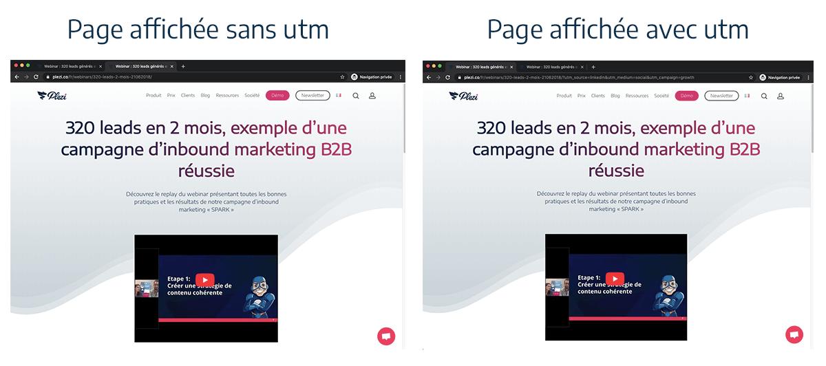 Différence (ou pas) d'affichage des pages avec et sans paramètre utm