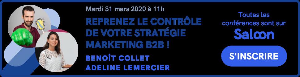 bannière pour s'inscrire à la conférence plezi sur la stratégie marketing B2B sur la plateforme Saloon