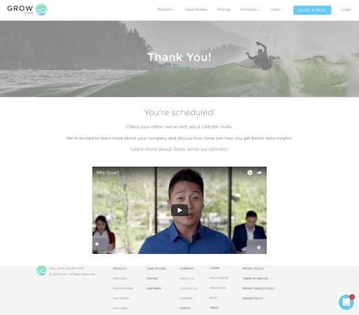 exemple d'une thank you page sur le site de Grow expliquant les étapes suivantes au visiteur web