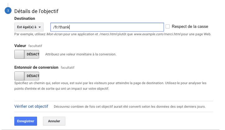 renseignement de l'url à l'étape 3 de création d'un objectif dans Google Anlaytics