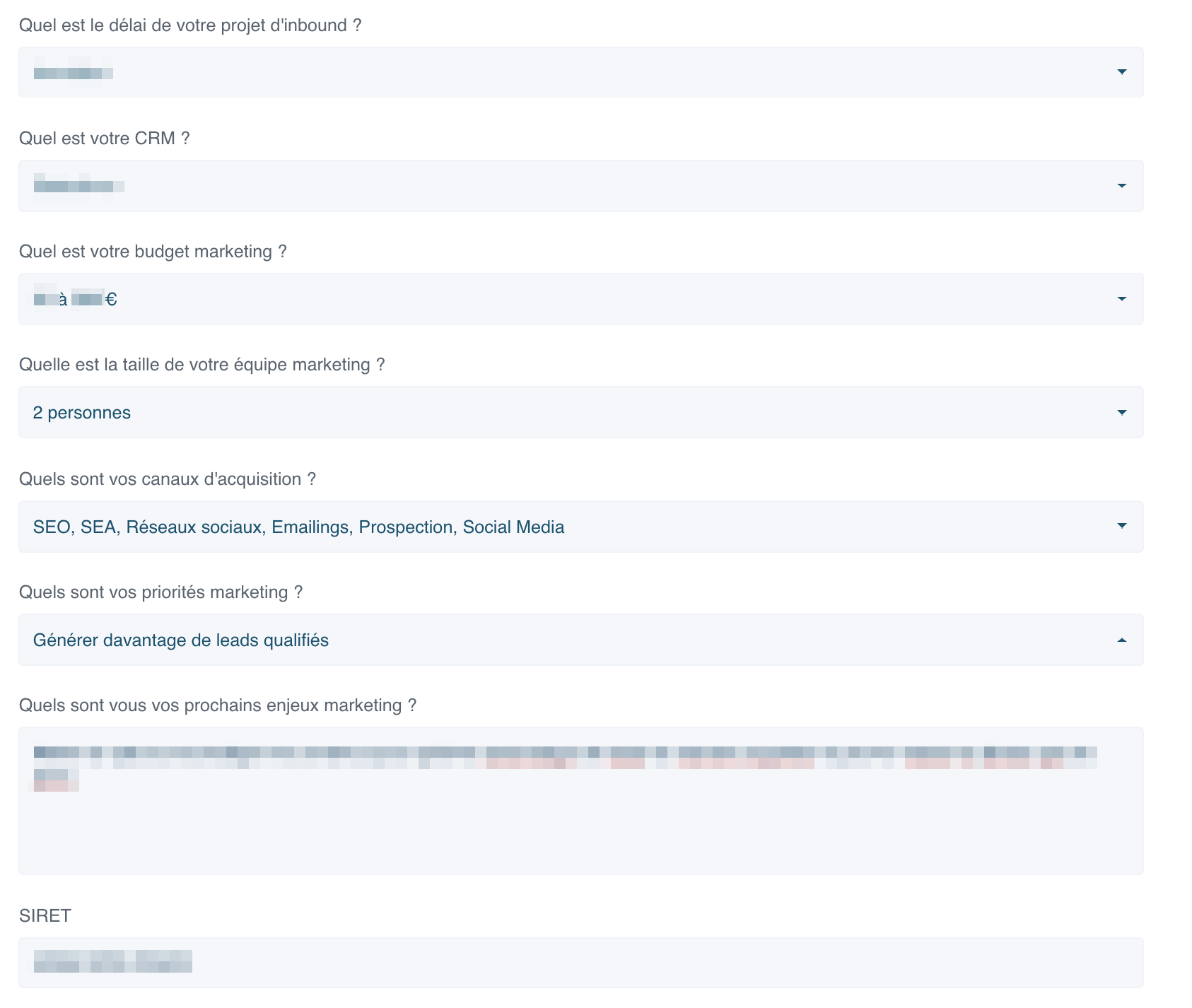 exemple d'informations d'un contact récupérées grâce à la méthode progressive profiling