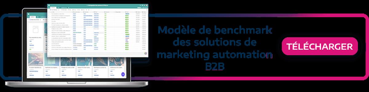 call to action permettant de télécharger le kit pour faire son benchmark des solutions de marketing automation B2B