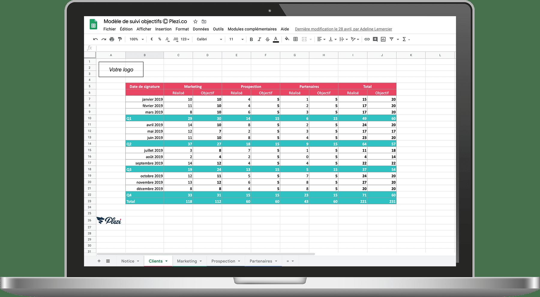 Mockup du modèle de suivi des objectifs