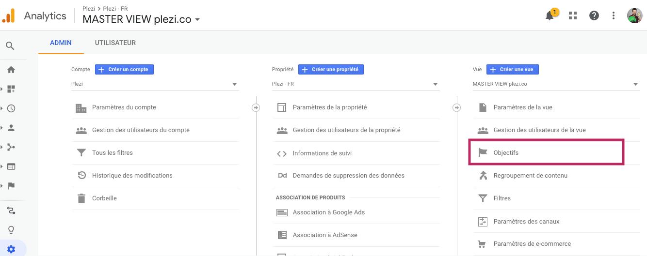Écran de paramétrage des objectifs sur une vue Google Analytics