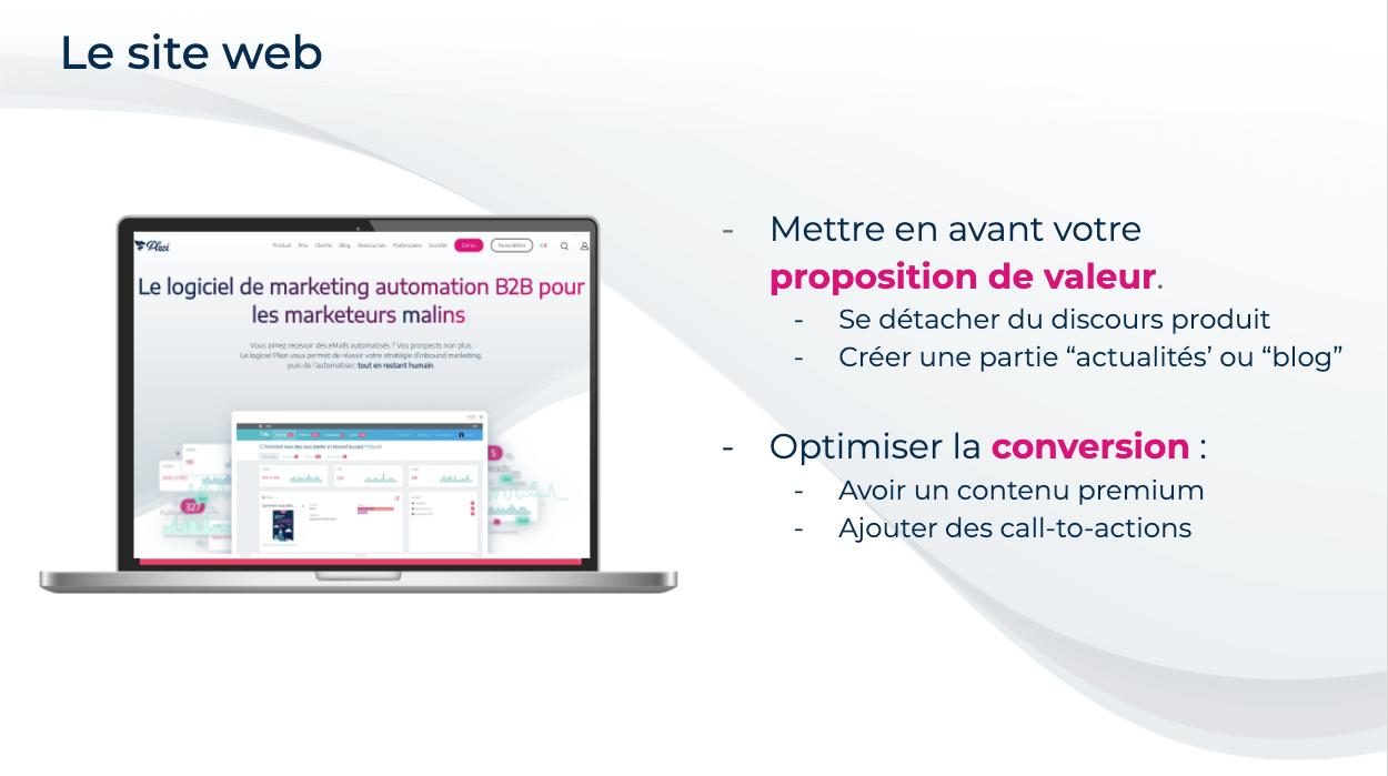 visuel présentant les conseils pour optimiser son site web pour le marketing automation