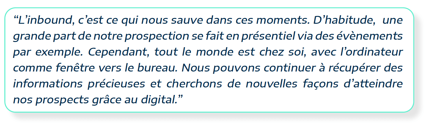 citation de Clémence Michel, responsable marketing chez Deepki, sur leur stratégie d'inbound marketing en période creuse