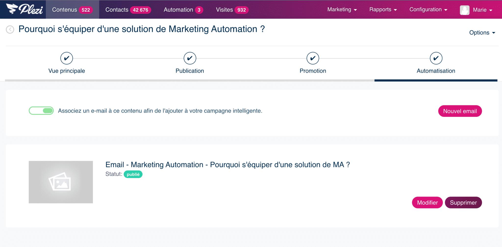intégration d'un contenu à la campagne intelligente de Plezi pour nurturer ses prospects