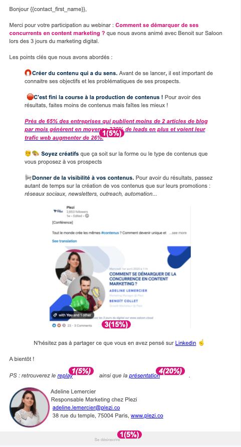exemple d'un scénario d'email envoyé après un webinar